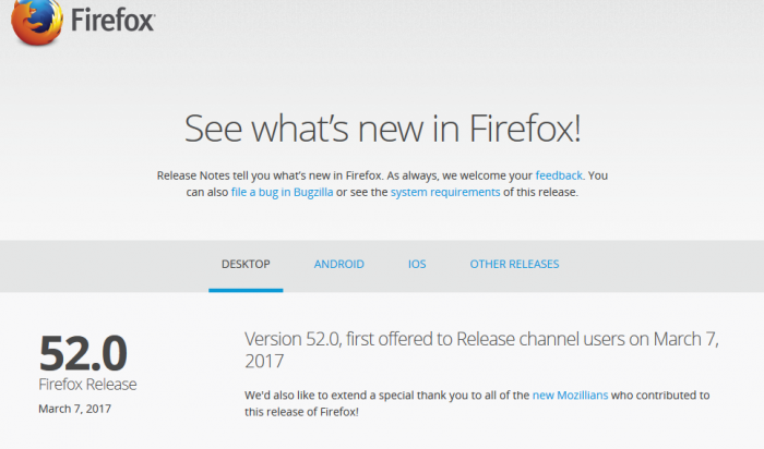 Mozilla Firefox 52 ESR release: will provide a year of