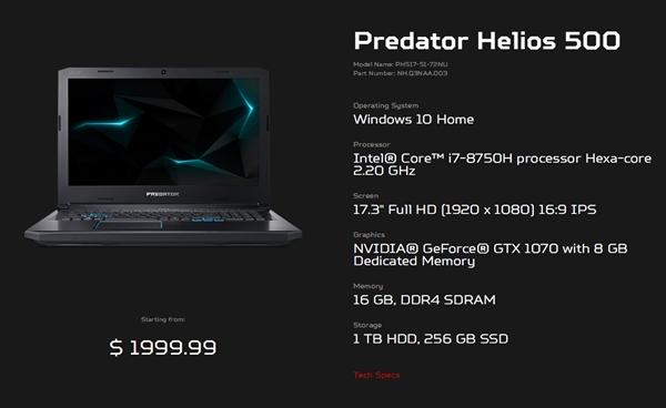 Acer Releases Predator Helios 500 Gaming Book First AMD Vega