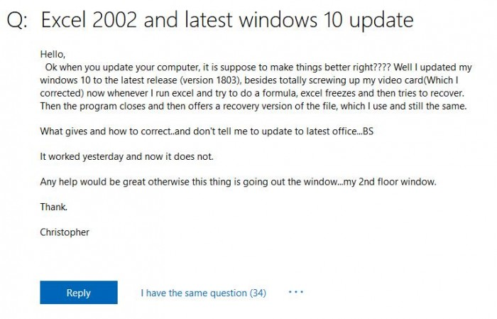 Windows 10 April 2018 burst new compatibility problem: lead