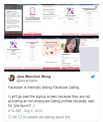 Facebook starts internal testing of the new dating app