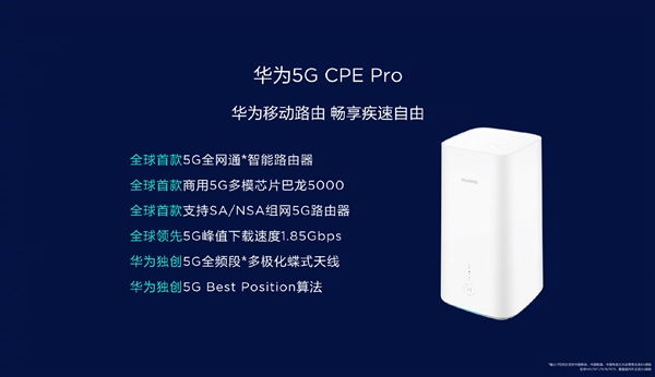 Huawei 5G CPE Pro mobile wireless router release: dual gigabit ports